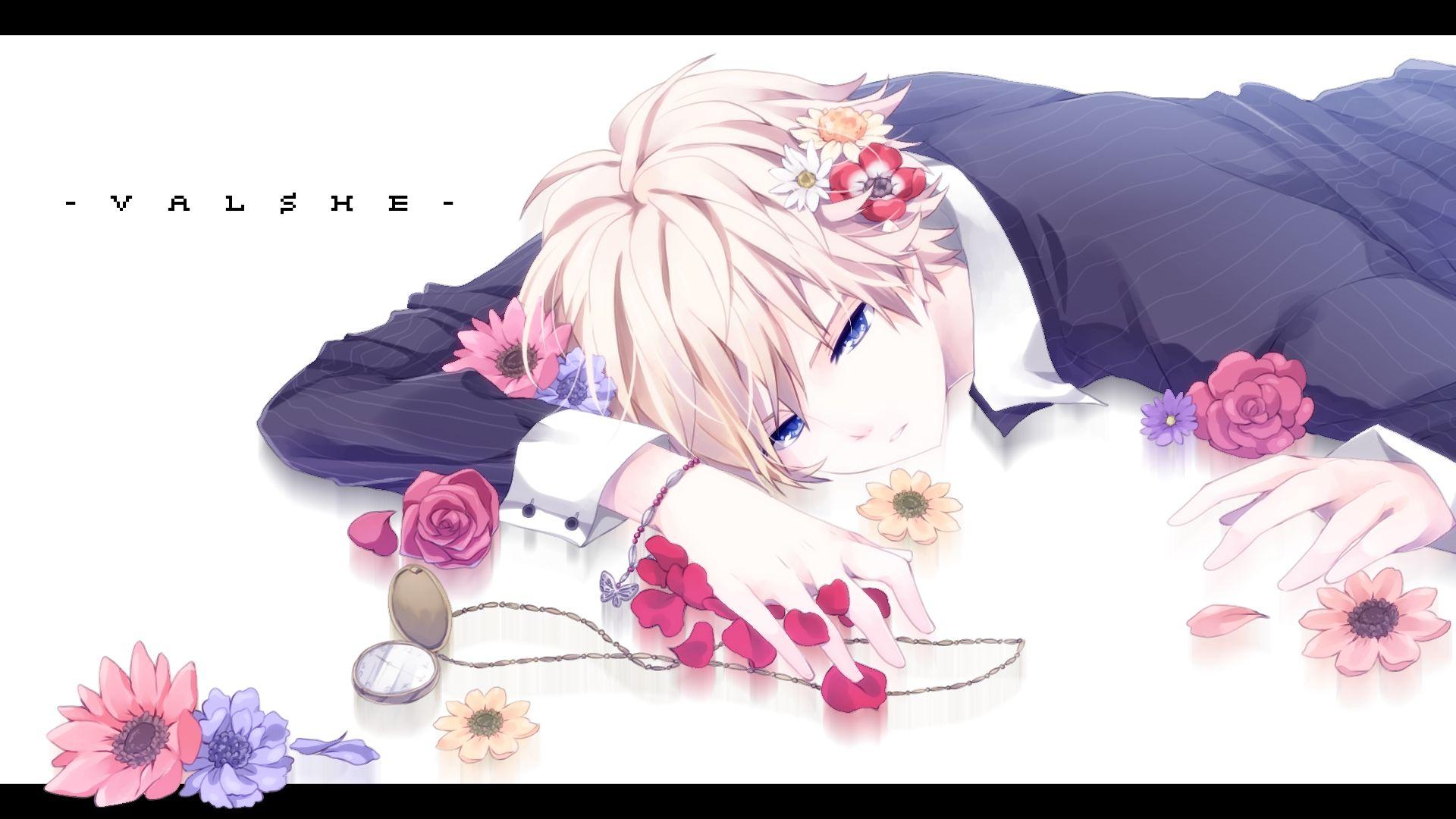 Valshe Pocket Watch Watch Black Border Yellow Flower Anime Cute Anime Boy Short Hair Blue