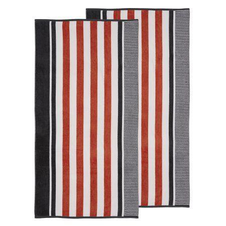Superior 100 Cotton Oversized Checkered Striped Beach Towel