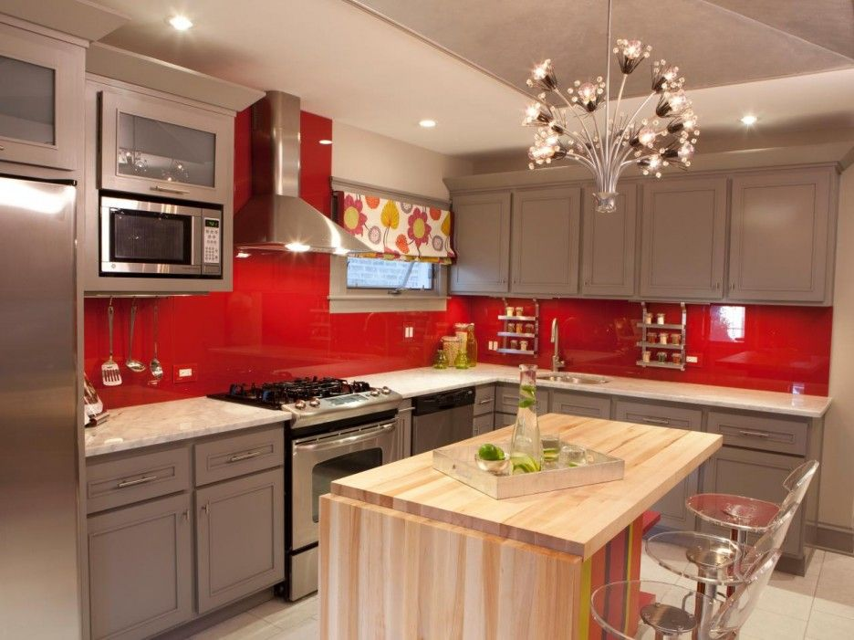 I love these grey cabinets with red accents   Red kitchen ...