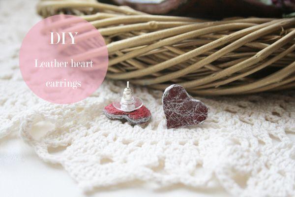 DIY Leather Heart stud earrings