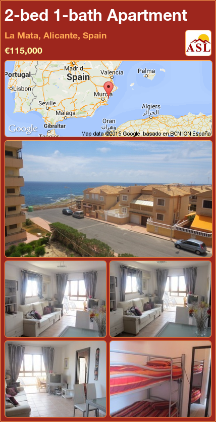 Apartment For Sale In La Mata Alicante Spain With 2 Bedrooms 1 Bathroom A Spanish Life Apartments For Sale Alicante Apartment