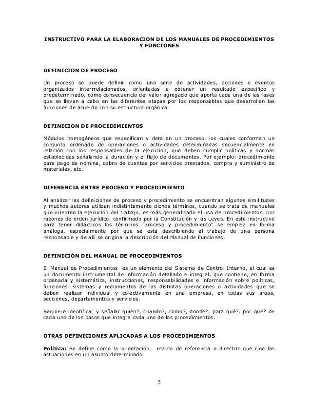 INSTRUCTIVO PARA LA ELABORACION DE LOS MANUALES DE PROCEDIMIENTOS Y ...