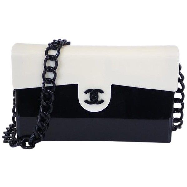 8987e53d24e7 Chanel Black/White Plastic Vintage Classic Flap Bag ❤ liked on Polyvore  featuring bags, handbags, vintage plastic purses, white and black purse,  flap bag, ...