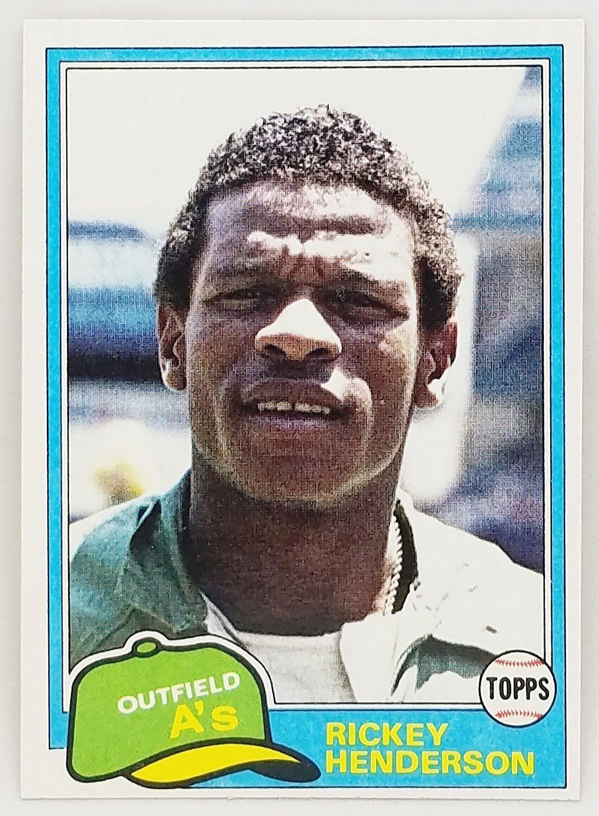 1981 topps rickey henderson 2nd year card hof 261 set