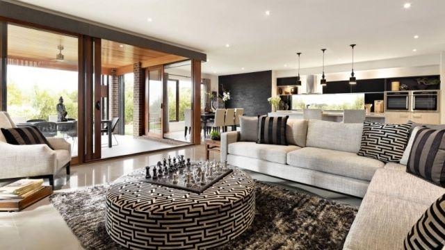 wohnzimmer gestalten ideen teppich shaggy beistelltisch-gepolstert