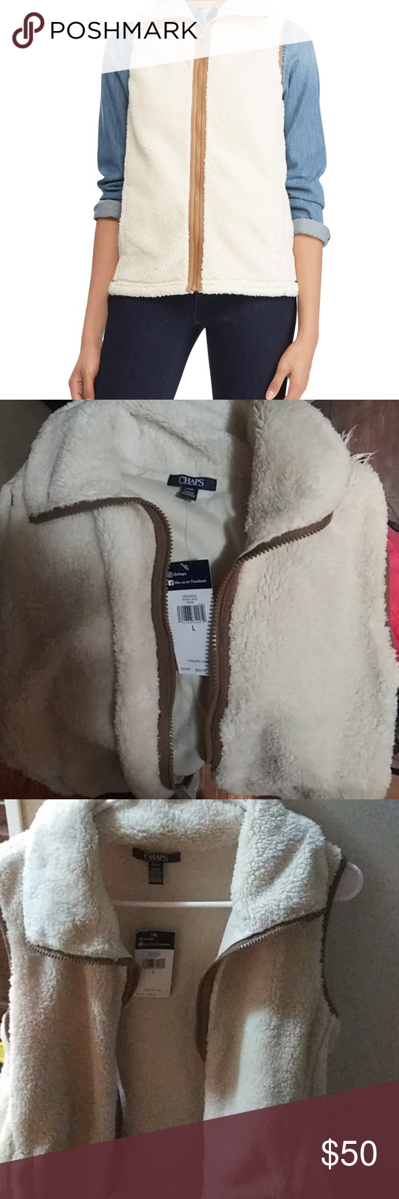 cd5be7a4357 Women Chaps Sherpa Cream Color Vest size Large Layer this impossibly soft  womens vest over sweaters