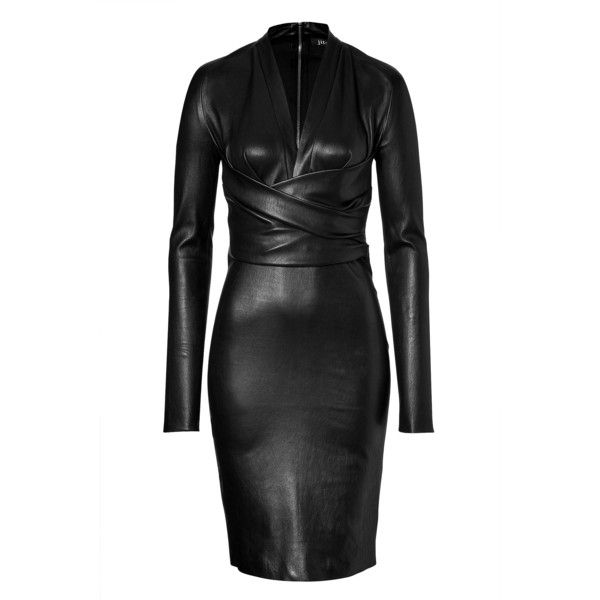 JITROIS Leather Astoria Dress in Black ($2,723) ❤ liked on Polyvore featuring dresses, black dresses, form fitting dresses, leather sheath dress, long sleeve sheath dress, deep v neck dress and form fitted dresses