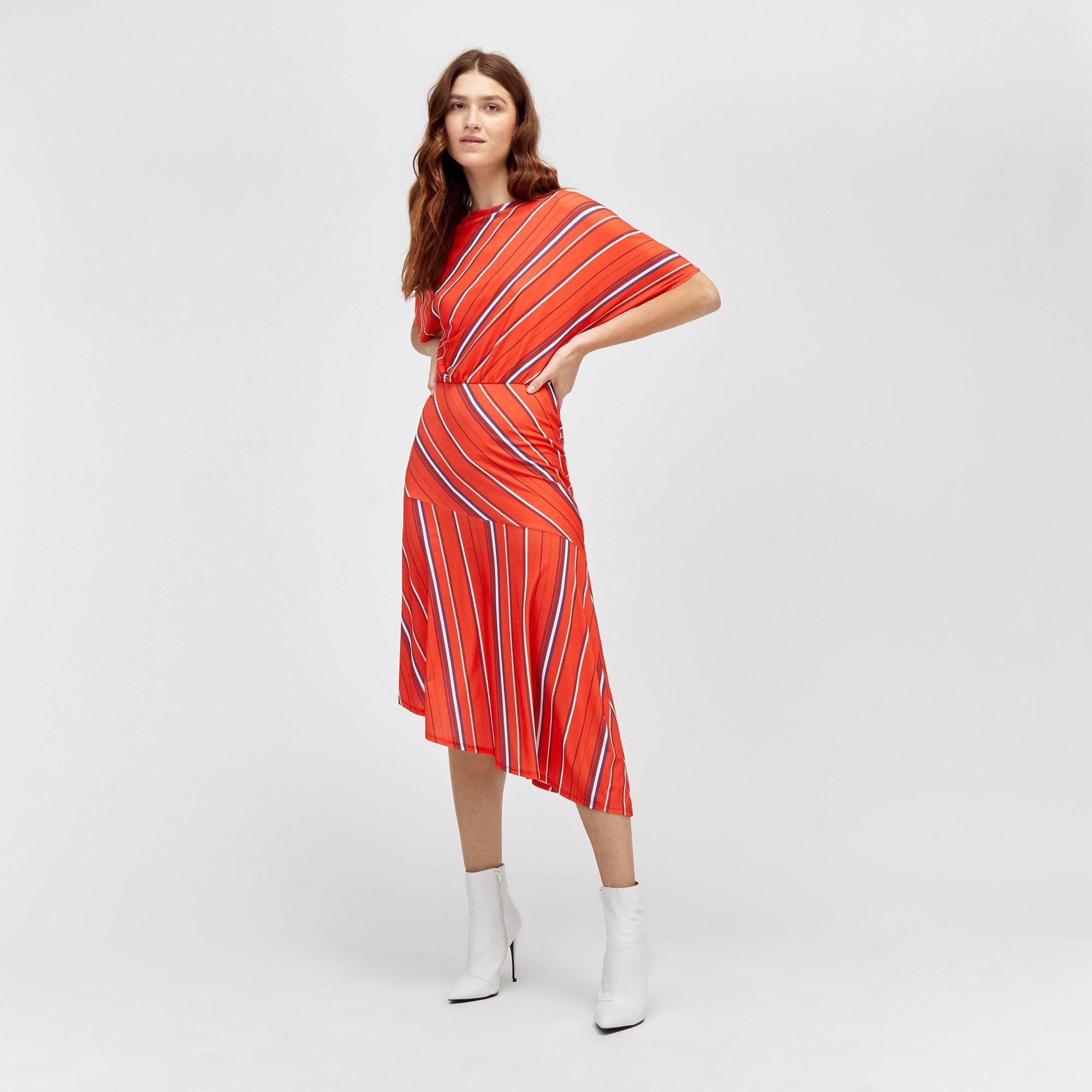 Warehouse Diagonal Stripe Midi Dress Red Stripe 1 Midi Dress Summer Dresses Red Midi Dress [ 2000 x 2000 Pixel ]