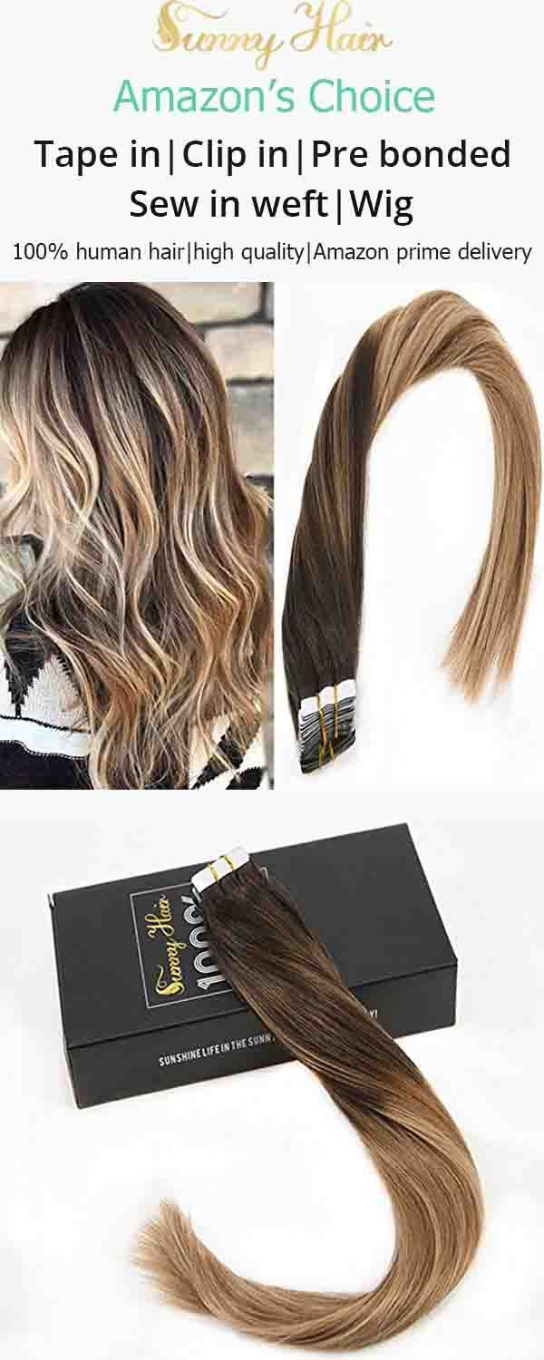 Sunny Remy Hair Extensions Human Hair Tape In Ombre Color Darkest