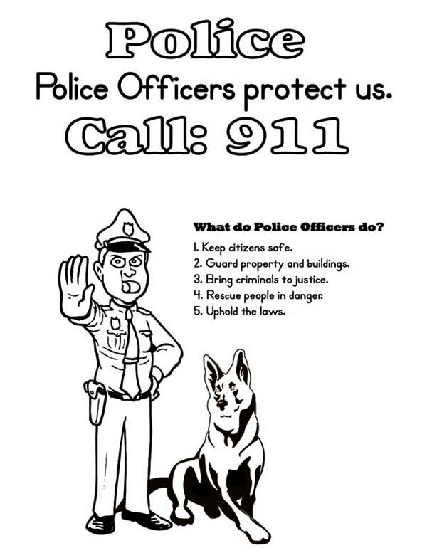 Police Officer And K9 Dog Coloring Page Netart Dog Coloring Page Police Officer Police