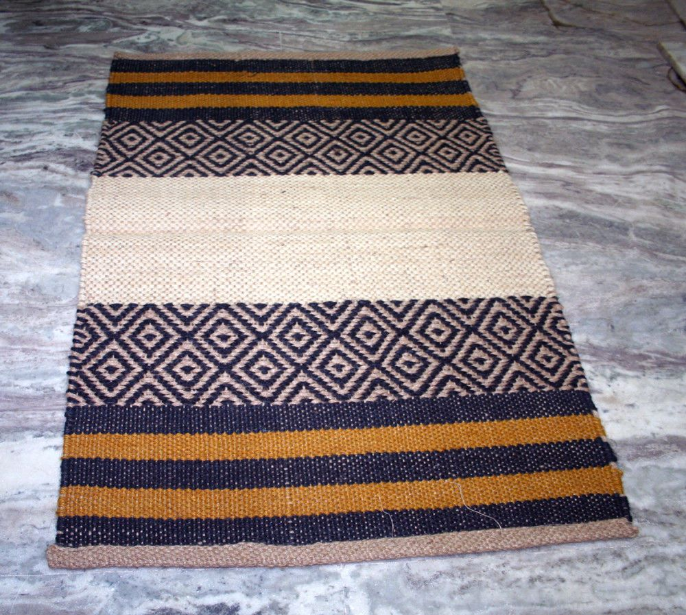 Small Vintage Turkish Kilim Rug Boho Door Mat Jute Carpet 2 X3 Feet
