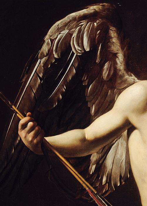 sophistae:  Caravaggio, Cupid as Victor (detail), ca. 1601