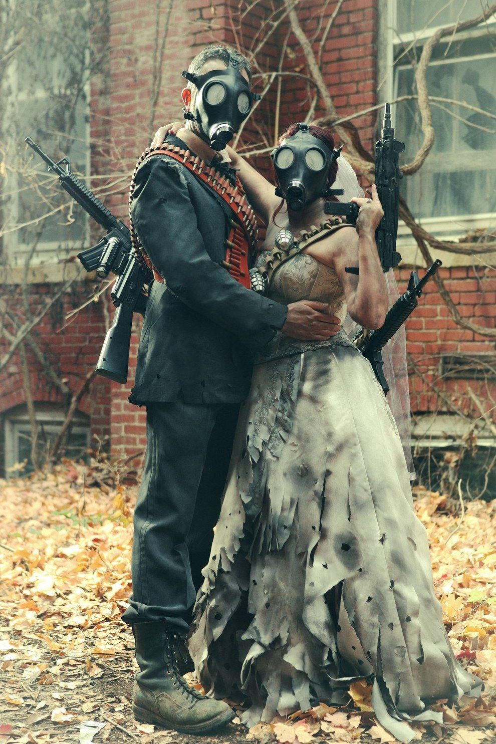 """This Post-Apocalyptic Engagement Shoot Is Totally Badass-  """"So many people have told us how cool it is we went with something different from the standard 'cuddling with each other in a grassy meadow' engagement shoot,"""" Kyser said."""