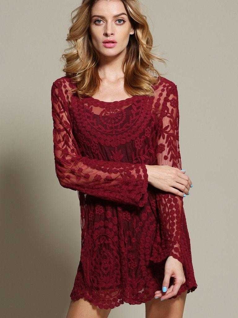 Wine Red Long Sleeve Embroidery Crochet Sheer Shift Dress
