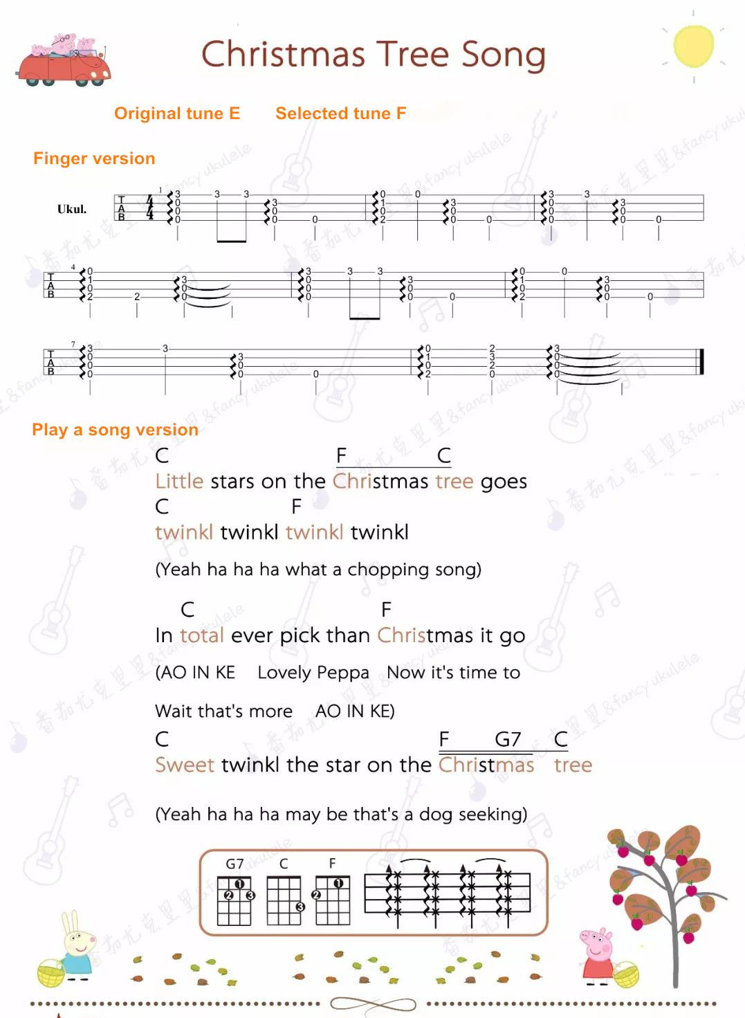 Peppa Pig Ukulele Sheet Christmas Tree Song Peppa Pig Songs Pig Song Peppa Pig