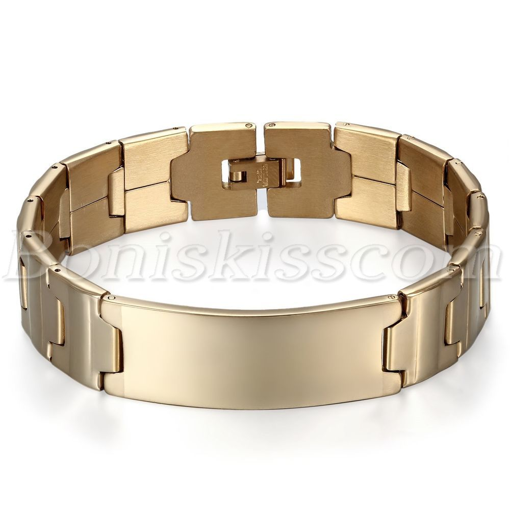 16MM Classical Charm Gold Tone Stainless Steel Men's Bracelet Wrist Link Chain #Unbranded #Chain