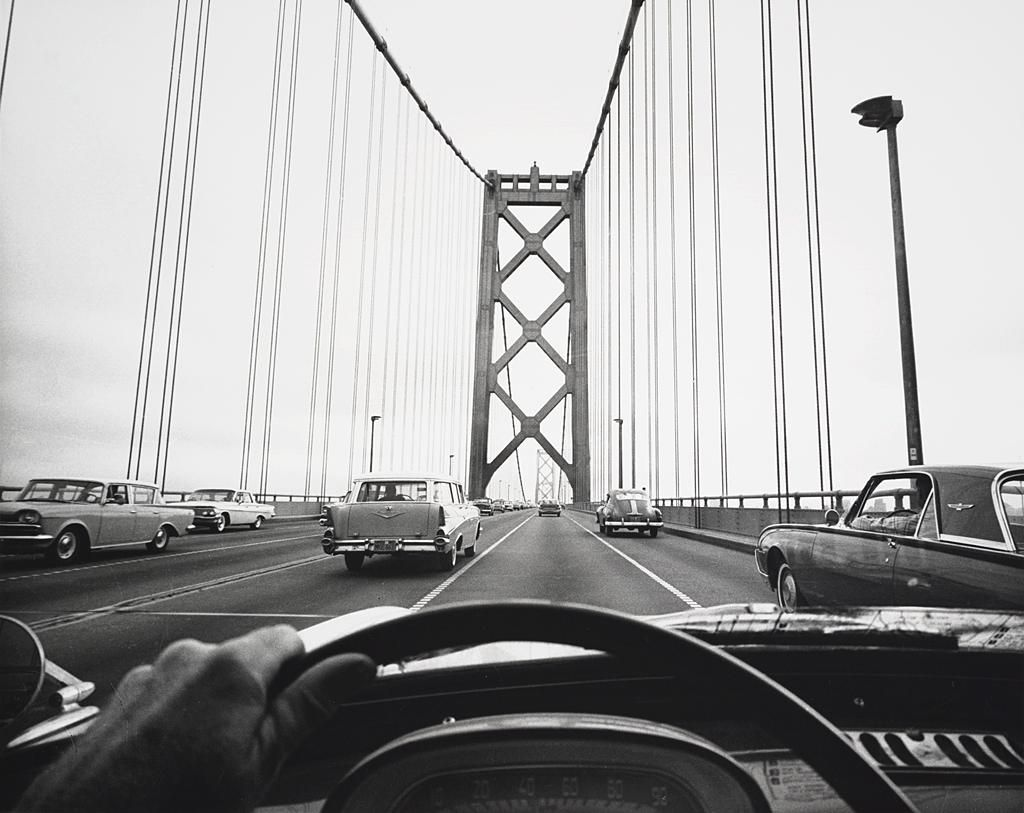 Peter Stackpole, Driving Across the Finished Bridge, 1950s