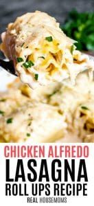 Chicken Alfredo Lasagna Roll Ups are all of the flavors of classic Chicken Alfredo rolled up into lasagna noodles to make easy lasagna rolls. A simple weeknight dinner recipe that the whole family will love! #chickenalfredo