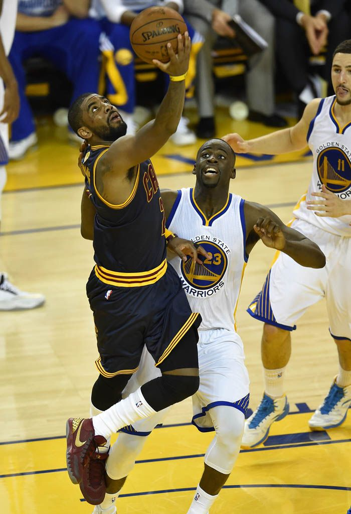 8f9b566ab458 Kyrie Irving wearing a Wine Gold Nike Kyrie 1 PE for Game 1 of the NBA  Finals (1)