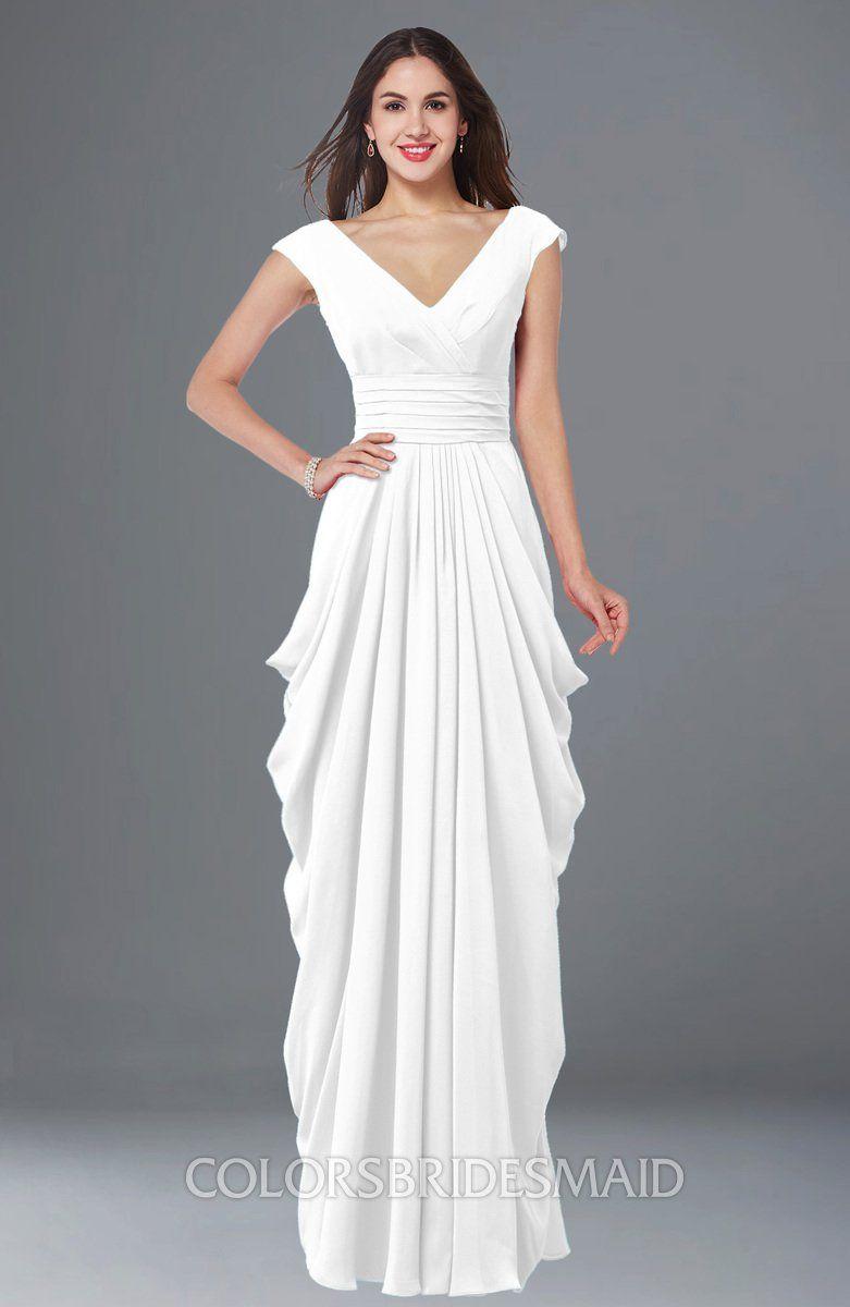 8ebd110b6dd1 i like the skirt on this one. AC .ColsBM Alice Mature V-neck Short Sleeve  Chiffon Floor Length Plus Size Bridesmaid Dresses