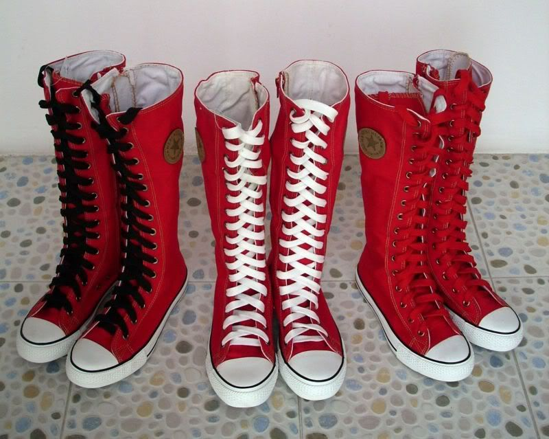 Women Girl Punk Rock Emo Red White Canvas Lace Up Boots