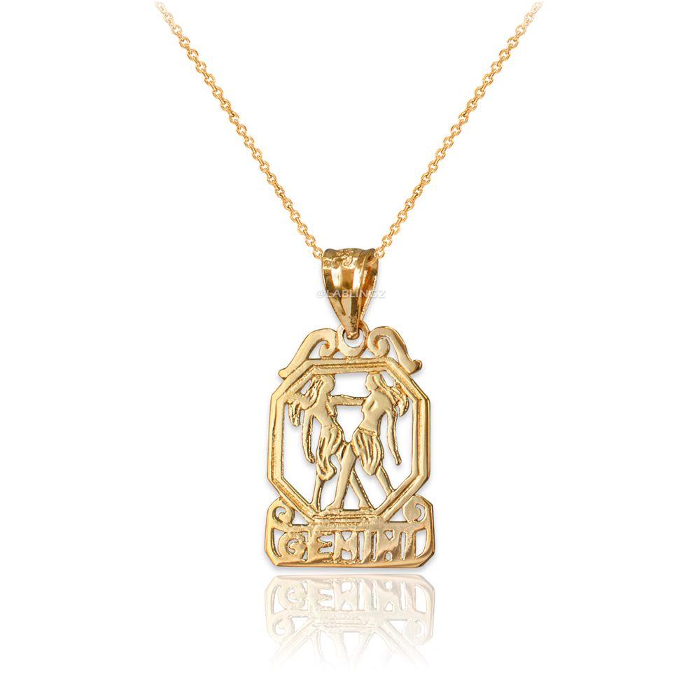 LA BLINGZ 10K Polished White Gold Aquarius Zodiac Sign Round Pendant Necklace