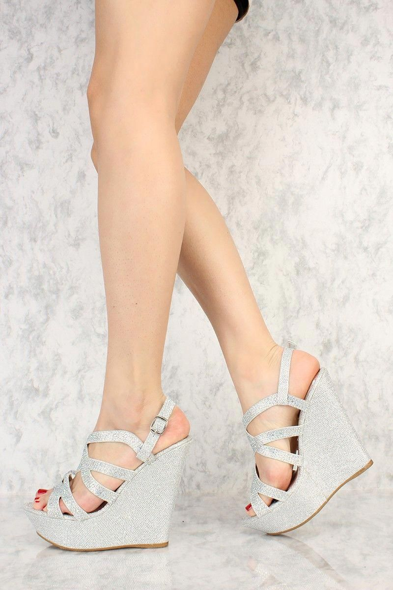 5d28527381d662 Silver Strappy Shimmer Rhinestone Accent Open Toe Platform Wedges Faux  Leather  Promshoes