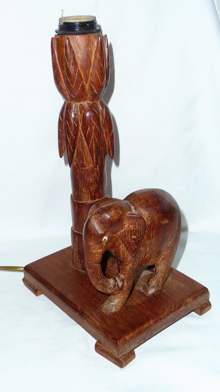 Wooden Elephant Lamp Base, Wood Carved Elephant Table Lamp ...