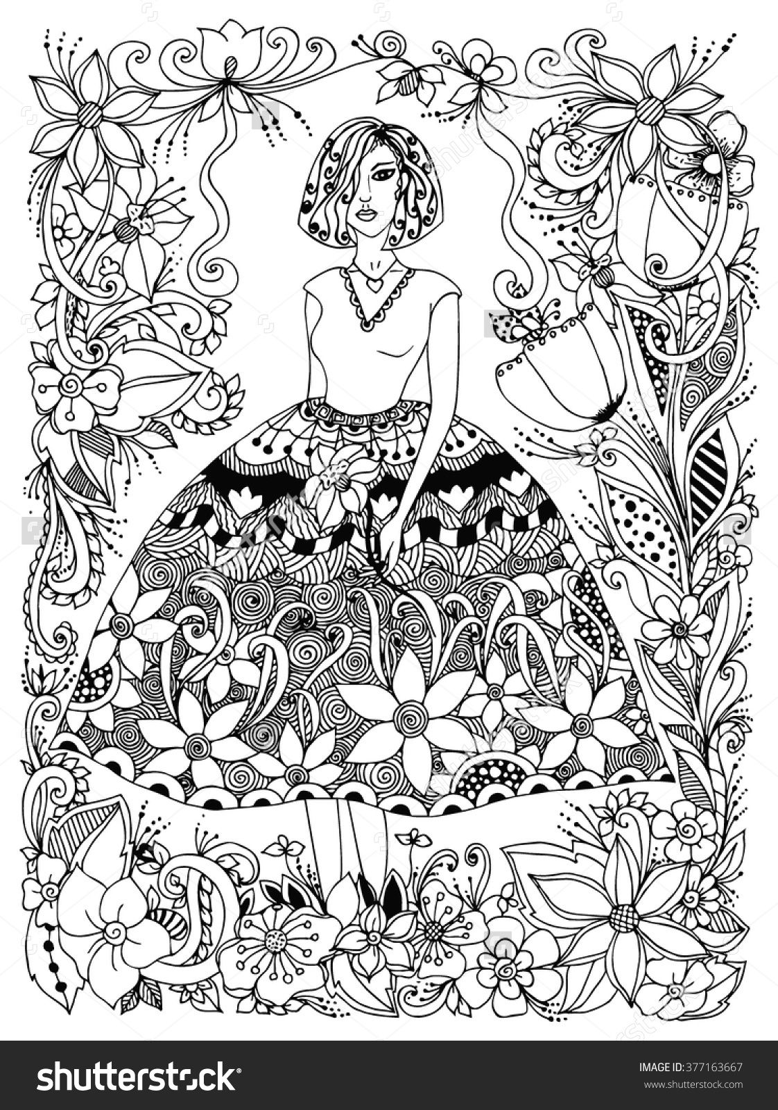 Girl Holding Flower Zentangle In Lush Dress Flowers Doodle Zenart Adult Coloring Page