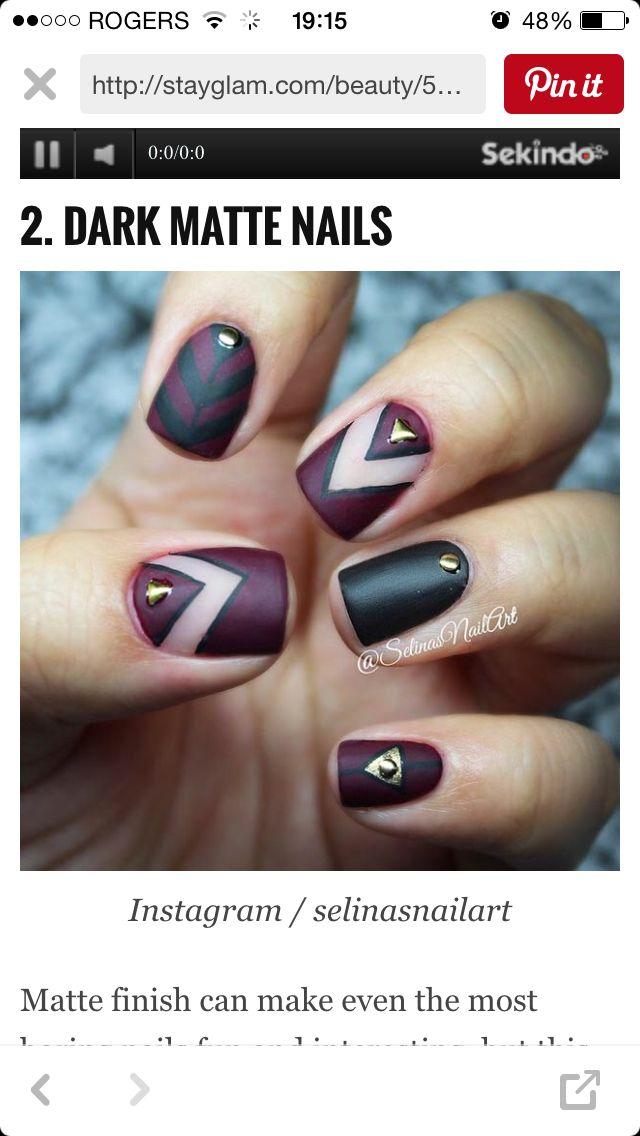 Green burgundy | nail ideas | Pinterest