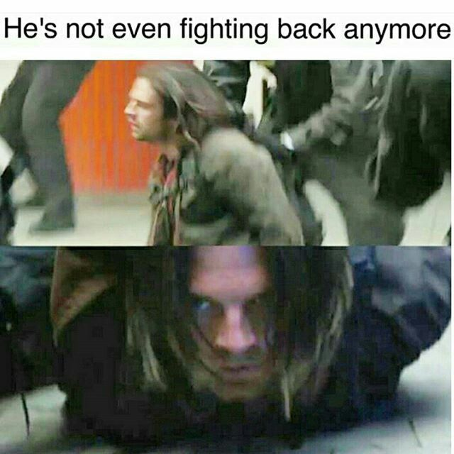Bucky's not fighting back anymore<-- We all know Bucky could easily destroy anything that crosses his path, so the fact that he is indeed not fighting shows that he really doesn't want to be the Winter Soldier anymore. He just wants to be Bucky
