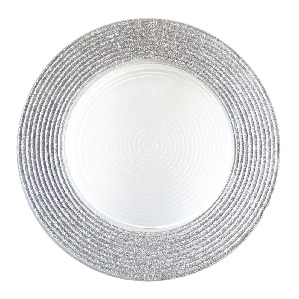 The Jay Companies 12 Round Silver Stripe Rim Glass Charger Plate Glass Charger Plates Glass Charger Charger Plates
