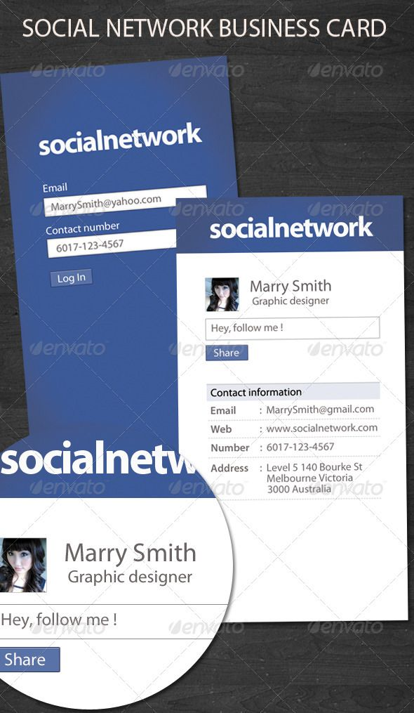 Social network business card social networks business cards and social network business card reheart Gallery