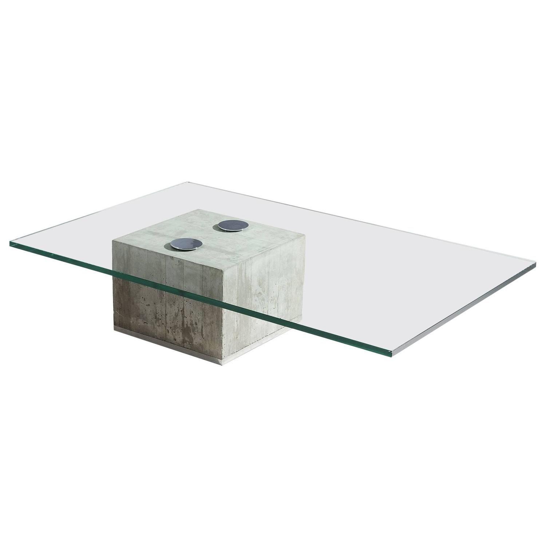 Sergio & Giorgio Saporiti Glass and Concrete Coffee Table