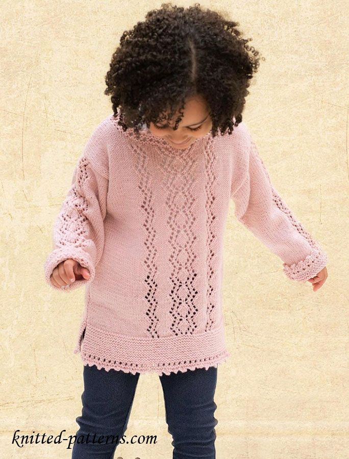 Free Knitting Patterns For Girls Sweaters : Girls sweater: Free knitting pattern Free Knitting Patterns Pinteres...