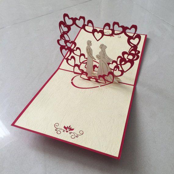 Wedding Pop Up Card Pop Up Card 3d Card Greeting Card Blank Card Love Card Pop Up Card Templates Love Cards Cards