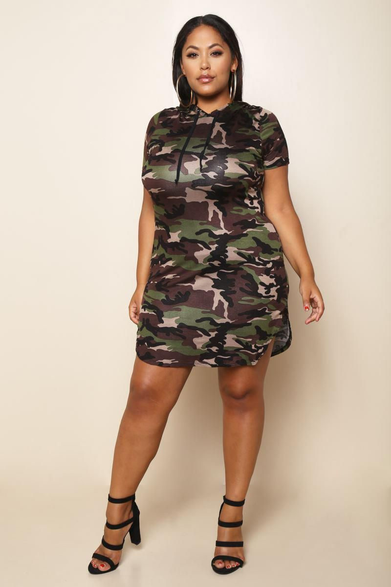 A cute + casual plus size dress, featuring a hoodie dress ...