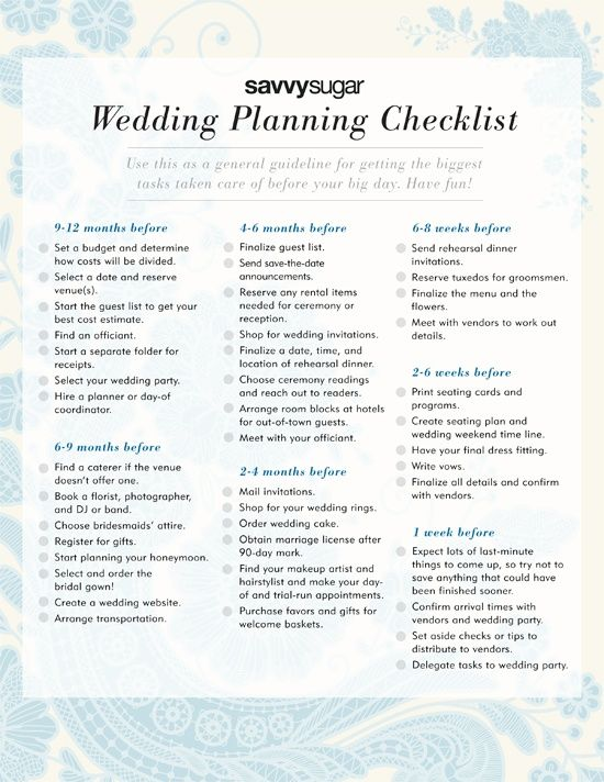 Wedding Planning Checklist | Going to the Chapel & We're Gonna get ...