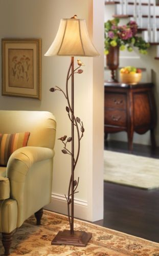 Birds Floor Lamp Antique Shade Light Reading Living Room Bedroom Decor Vines New Cottage Floor Lamp Rustic Floor Lamps Floor Lamps Living Room