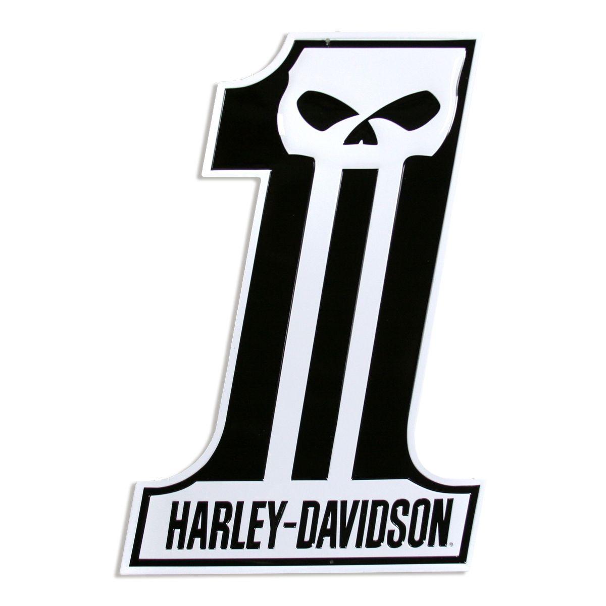 Harley davidson number one skull sign die cut d harley davidson shirt designs harley - Sigle harley davidson ...