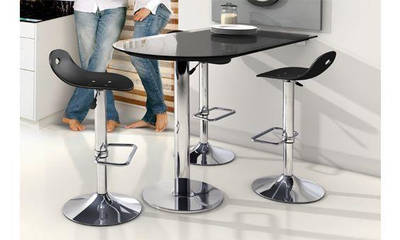 Mesa de cocina single fragolina con mostrador en cristal - Mesa cocina con taburetes ...