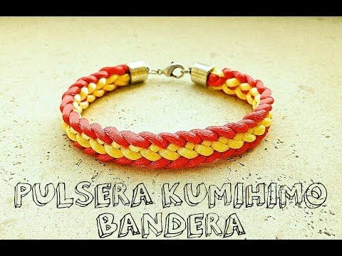 3e5ddc2eb83a Pulsera kumihimo plana: Bandera de España // Kumihimo bracelet - DIY ...