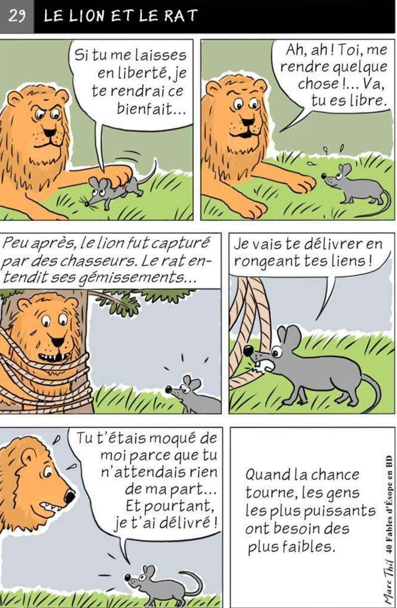 Fable D Esope En Bd Le Lion Et Le Rat Fables D Esope Phrases