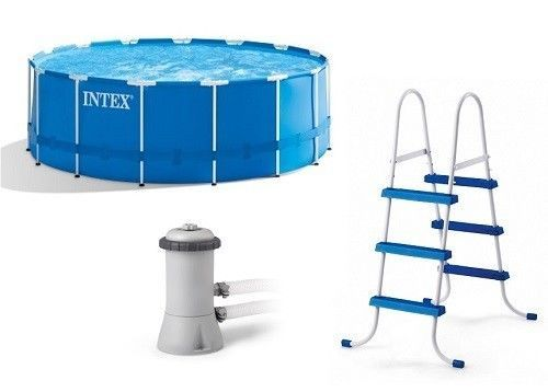 Metal Frame Above Ground Swimming Pool With Filter Pump And Ladder ...