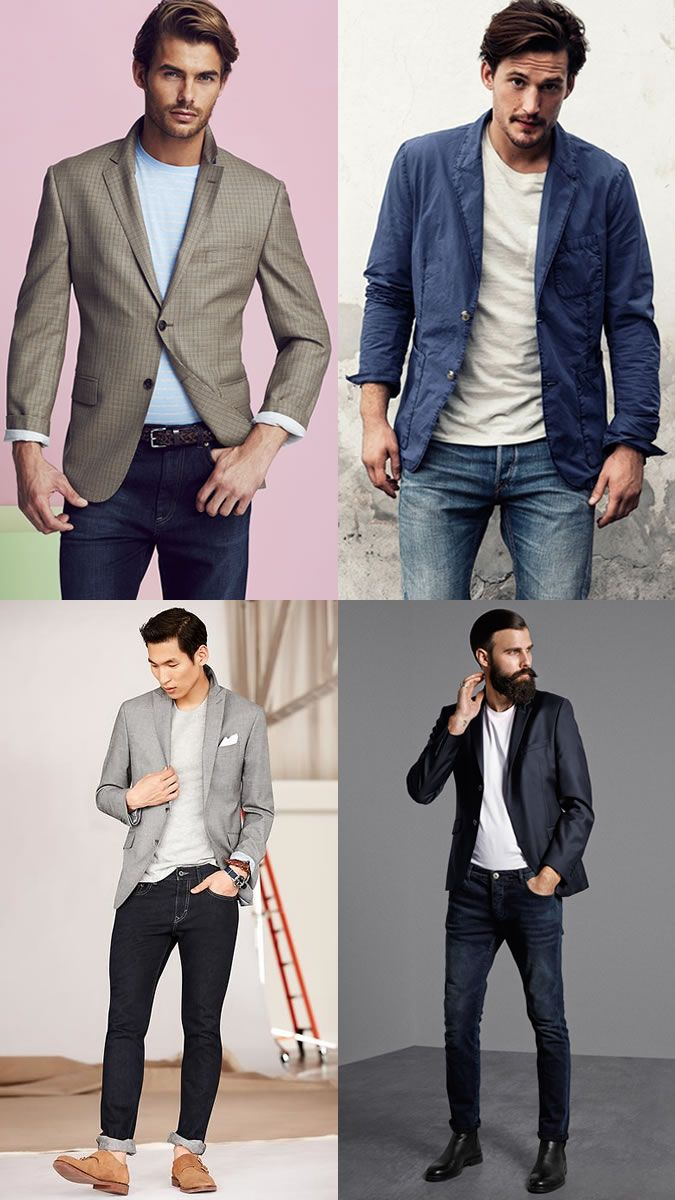 Men's Blazers, T-Shirt and Jeans Outfit Inspiration ...