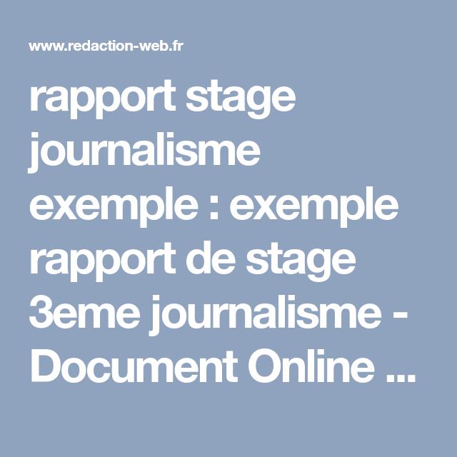 Rapport Stage Journalisme Exemple Exemple Rapport De Stage 3eme Journalisme Document Online Article Lettres Rapport De Stage 3eme Exemple De Rapport