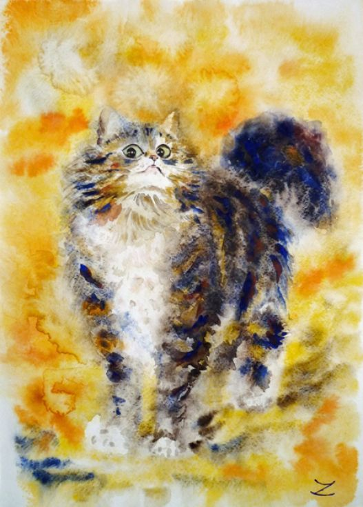 ARTFINDER: Little Imp by Zaira Dzhaubaeva - Original Watercolor Painting on Paper.