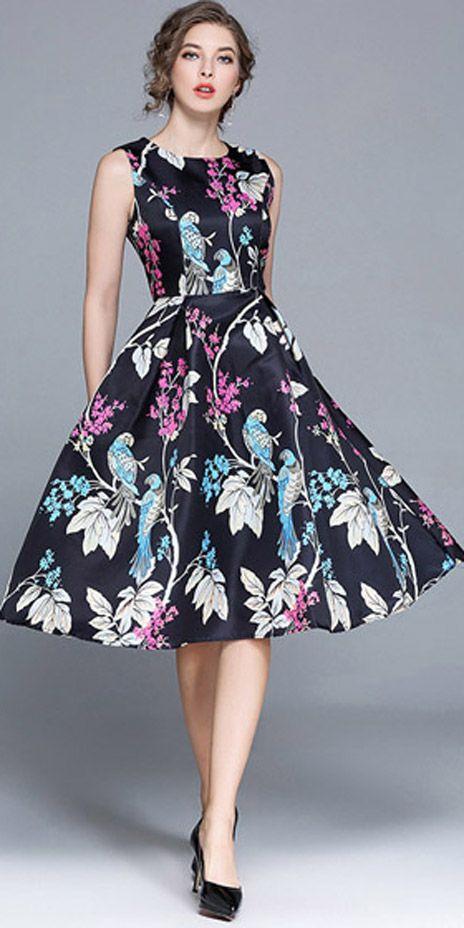 Vestido Godê Midi Floral Romântico Elegante  7abd8ad09fa
