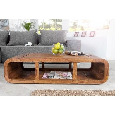 Table salon rectangle arrondi en bois massif de palissandre