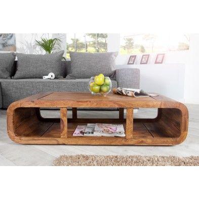 Table salon rectangle arrondi en bois massif de - Table en palissandre massif ...